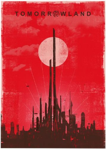 2010's Movie - TOMORROWLAND MINIMAL RED canvas print - self adhesive poster - photo print
